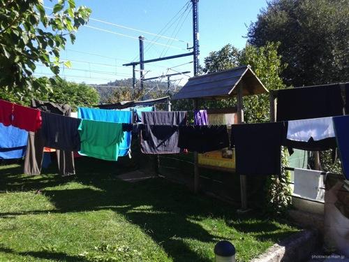 巡礼中の洗濯