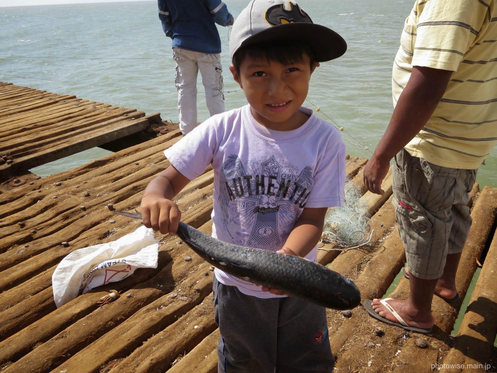 魚釣りをする人々