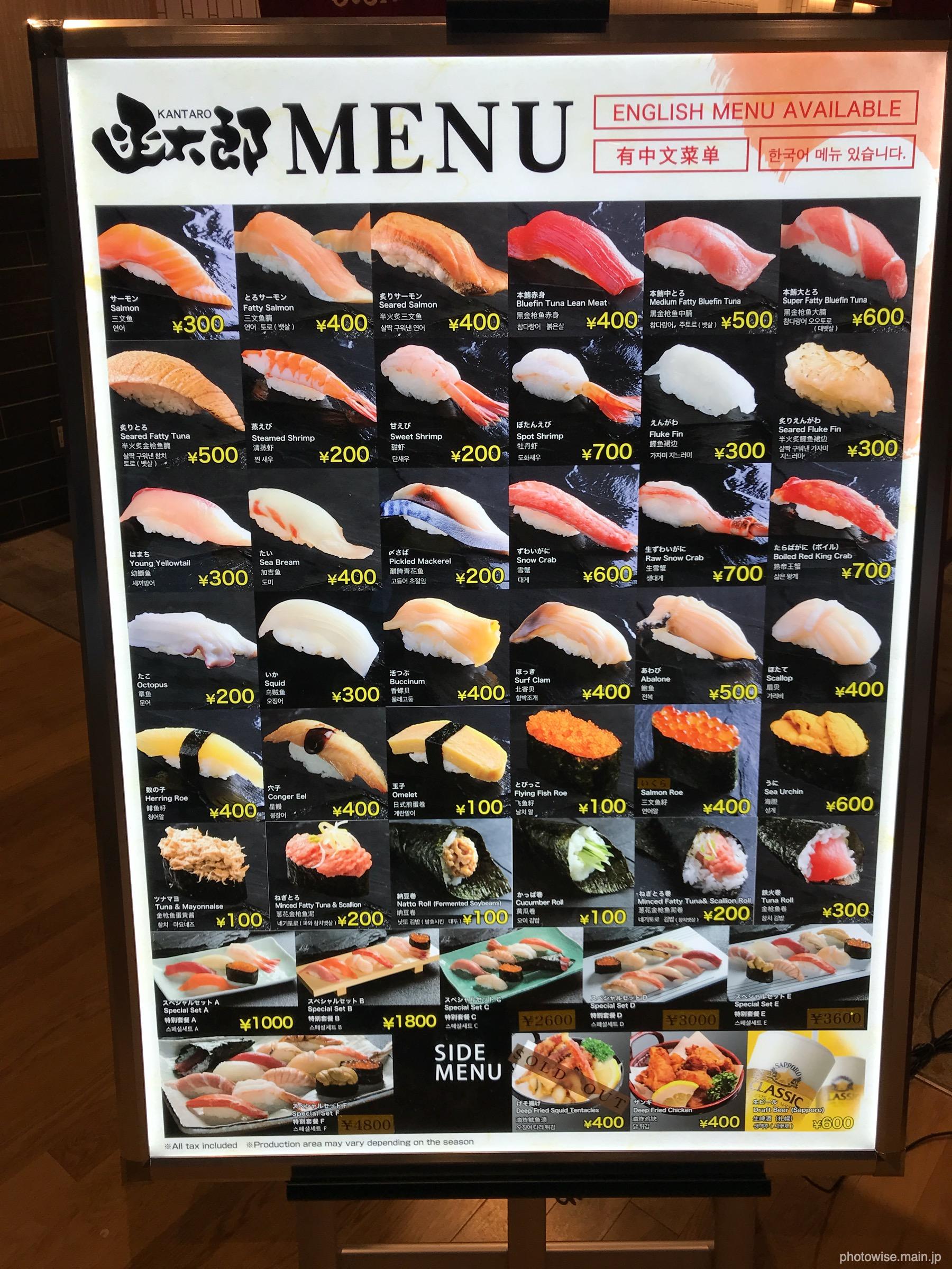 お寿司のプライス